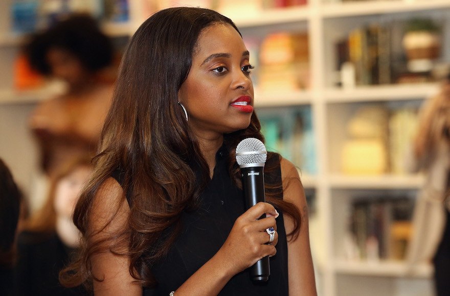Women's March National Co-Chair Tamika Mallory speaking in New York on April 22, 2017.