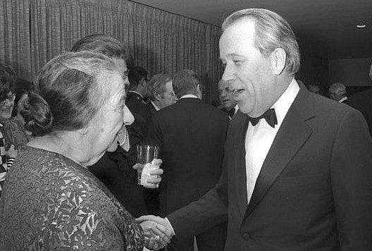 "Prime Minister Golda Meir with Sen. Henry ""Scoop"" Jackson during a reception at Israeli Ambassador to the United States Yitzhak Rabin's residence in Washington."