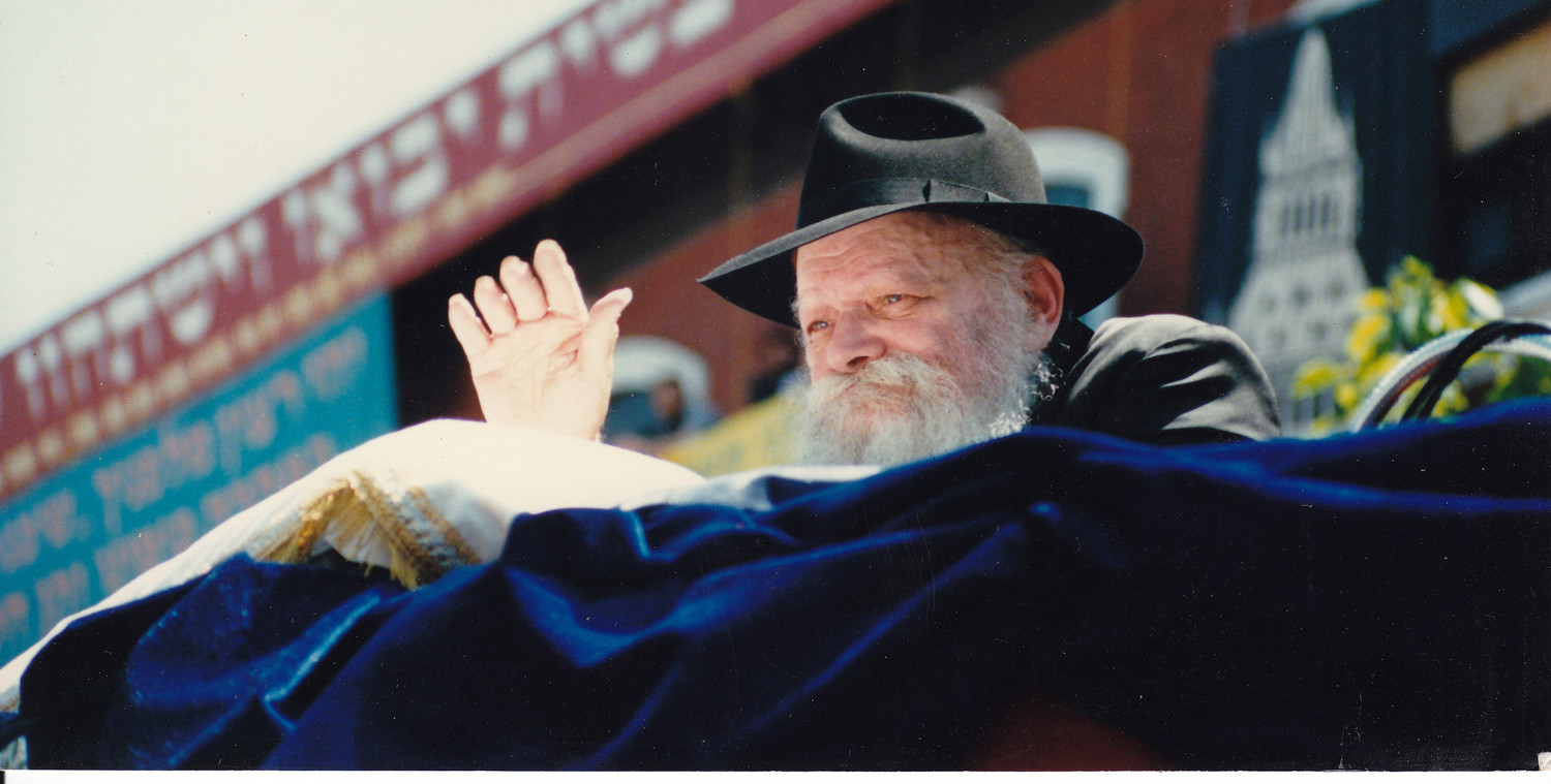 Rabbi Menachem Mendel Scheerson, the Lubavitcher Rebbe, at Brooklyn's Lag BaOmer parade in 1987.