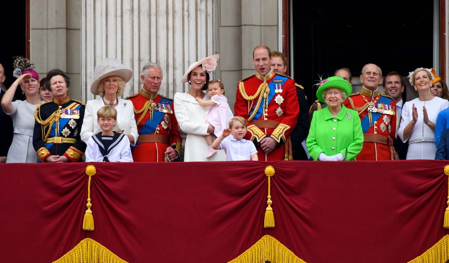 The royal family, with Prince William in the center alongside his wife, Catherine, and their two children, in London during the Trooping the Colour that year marked the queen's 90th birthday, June 11, 2016.