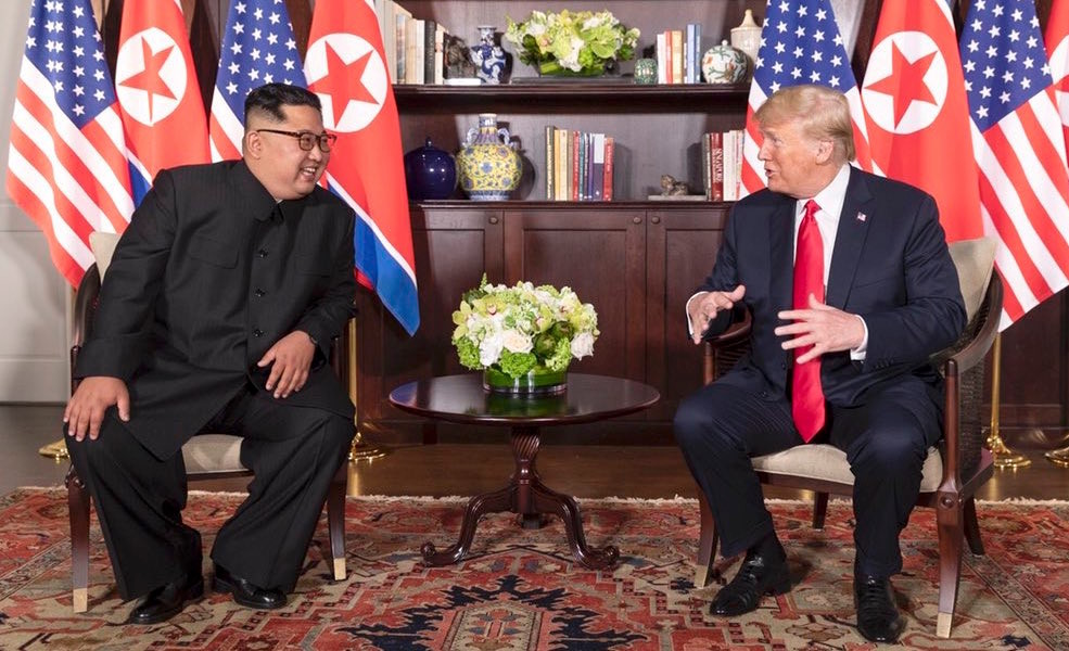 President Donald Trump and North Korean leader Kim Jong-Un at the Capella Hotel in Singapore on June 12, 2018.