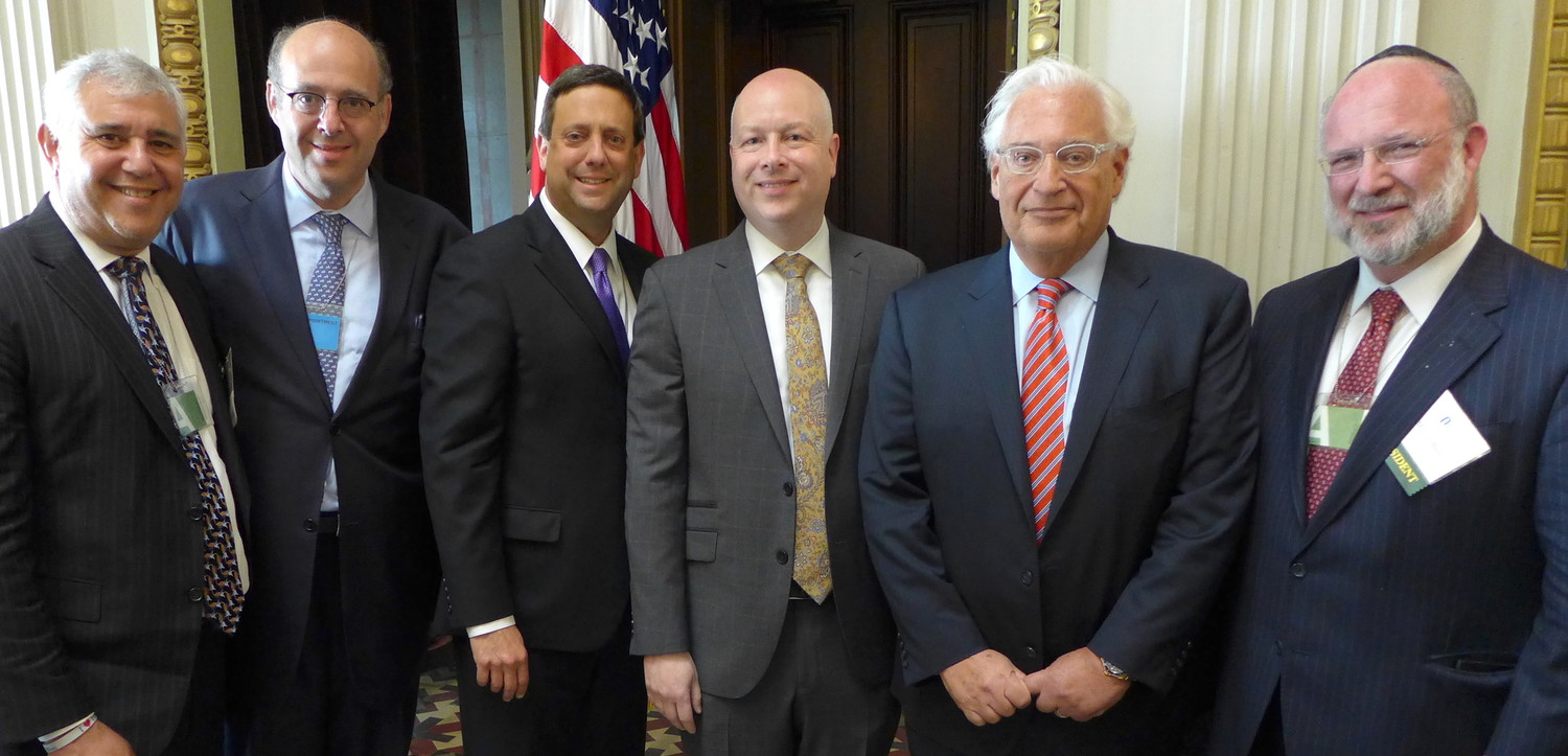 At the OU Advocacy Leadership Mission to Washington at the White House. From left: OU Advocacy Center Chairman Jerry Wolasky, OU Board of Directors Chairman Howard Tavi Freidman, OU Advocacy Executive Director Nathan Diament, Special Representative for International Negotiations Jason Greenblatt, U.S. Ambassador to Israel David Friedman, and OU President Moshe Bane.