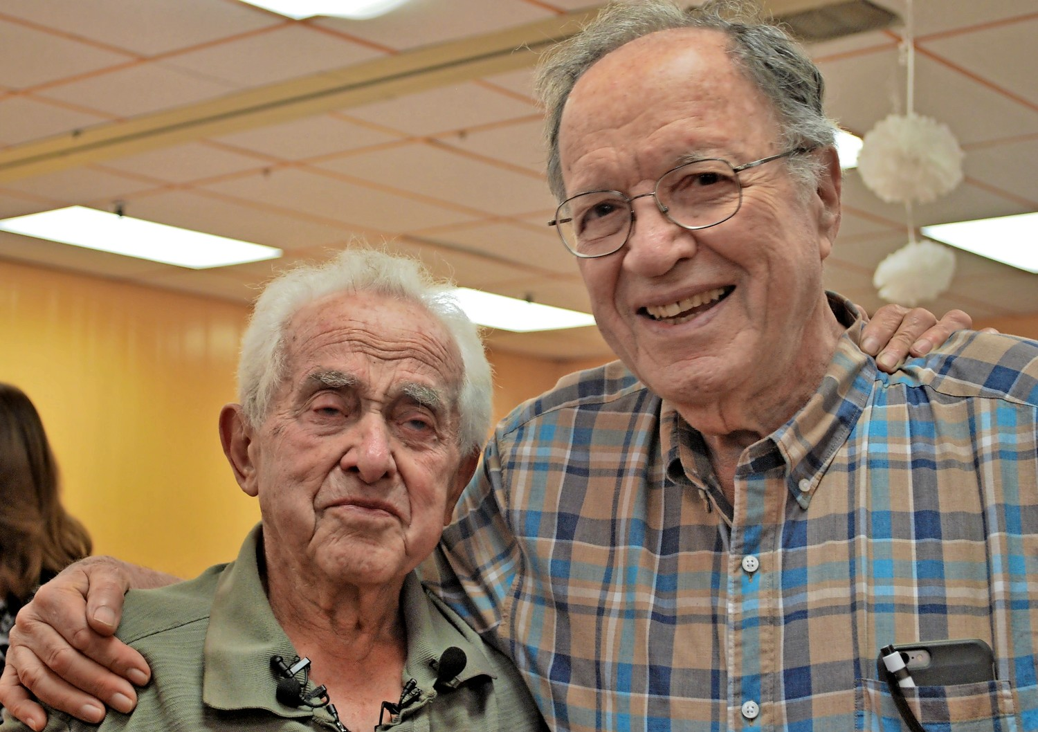 Shoah survivor Bernard Igielski with Dr. Joseph Kohn, a cousin of Dr. Berthold Epstein, the man who saved Igielski's life four times at Auschwitz.