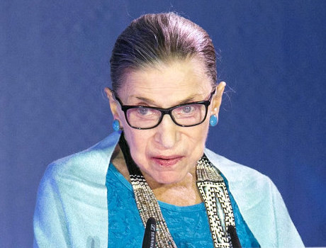 Justice Ginsburg addressing Genesis audience during the award ceremony in Jerusalem.