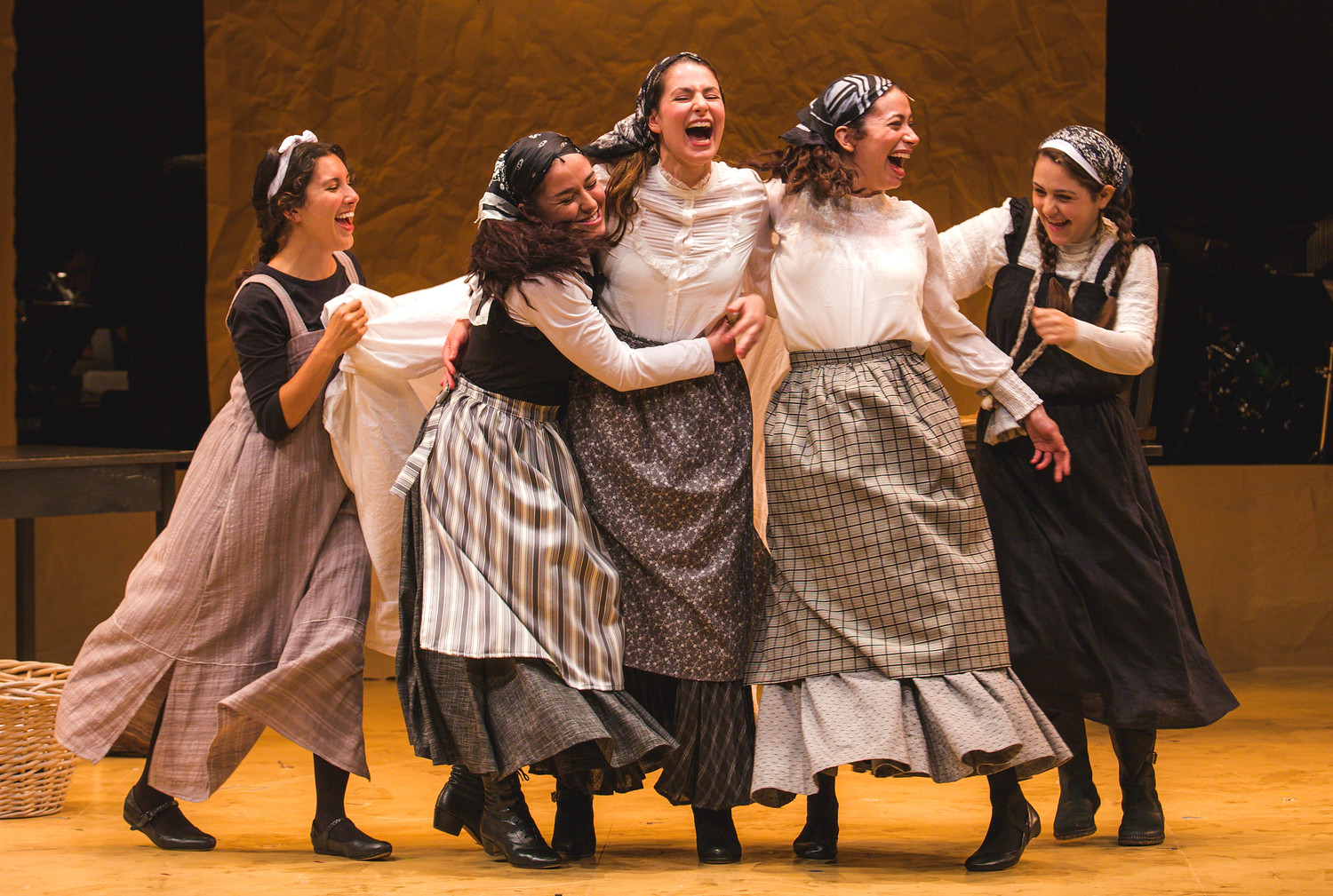 "Playing the daughters in a new Yiddish production of ""Fiddler on the Roof,"" from left: Raquel Nobile, Rosie Jo Neddy, Rachel Zatcoff, Stephanie Lynne Mason and Samantha Hahn."