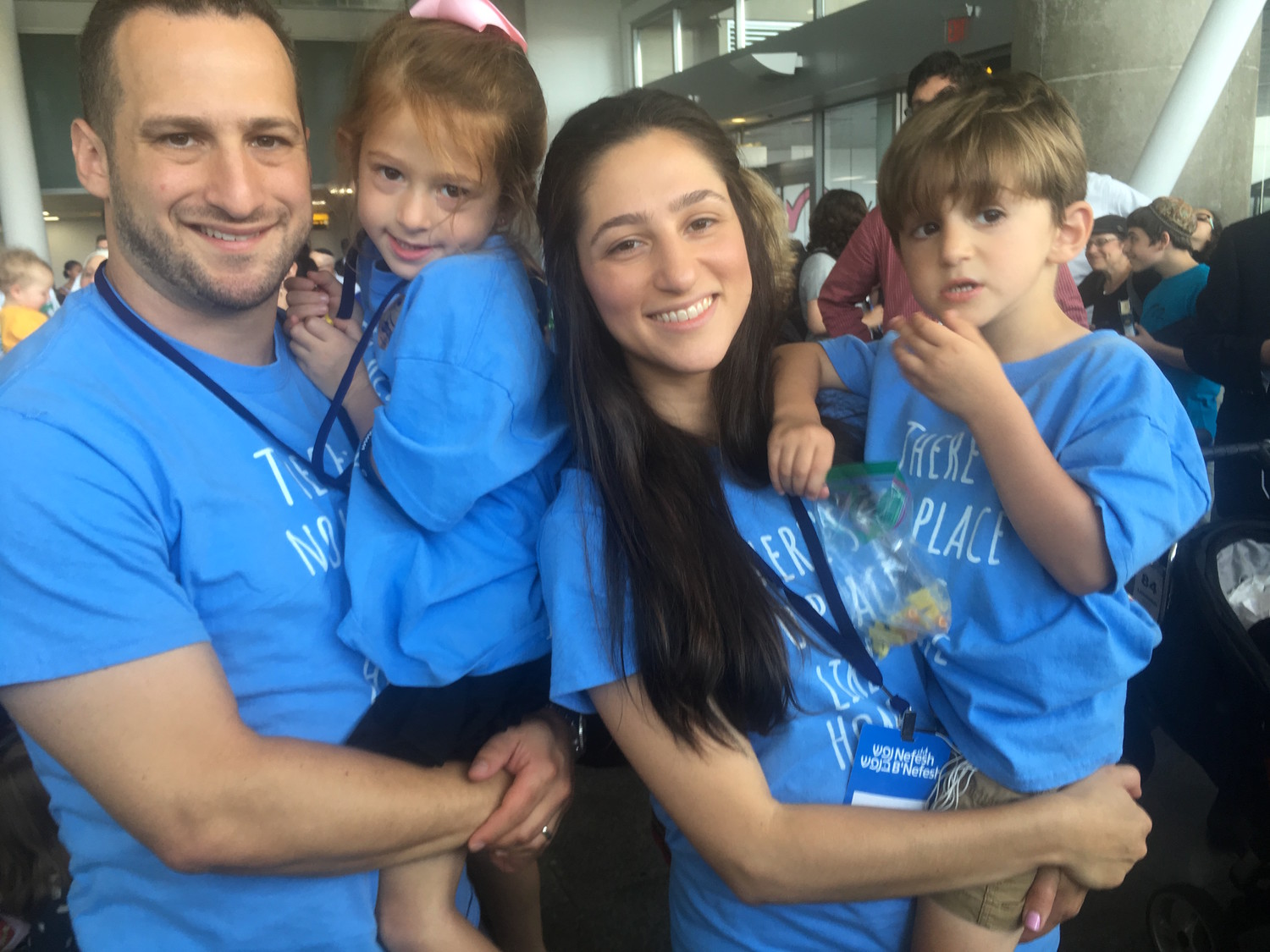 From Kew Gardens Hills, Hanna and Shamshy Schlager and their children —  Azarya, 3, and Adella, 5 — ready to board Tuesday's aliyah flight.