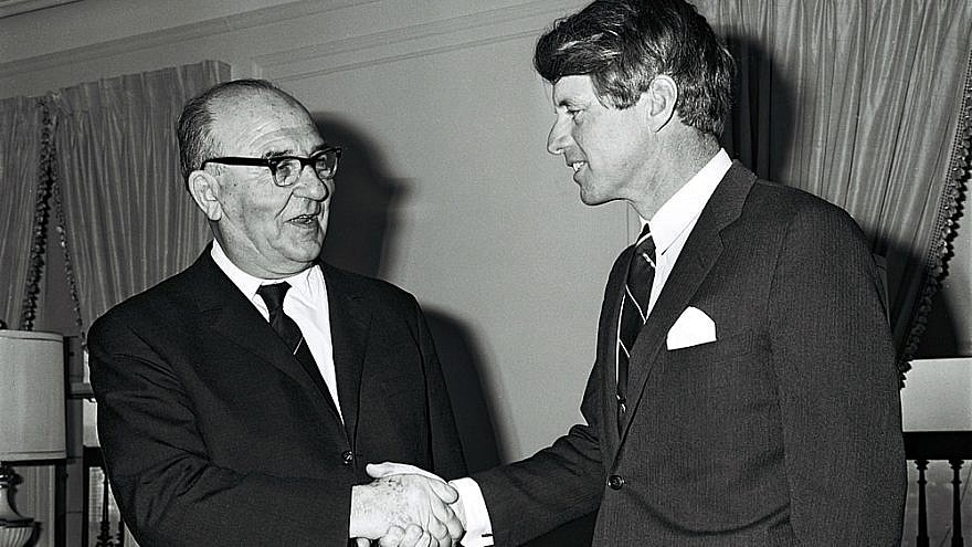 Robert F. Kennedy with Israeli Prime Minister Levi Eshkol in January 1964.