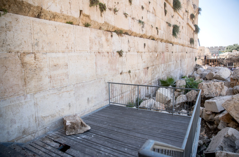 A large chunk of stone dislodged from the Kotel at the mixed-gender prayer section on July 23.