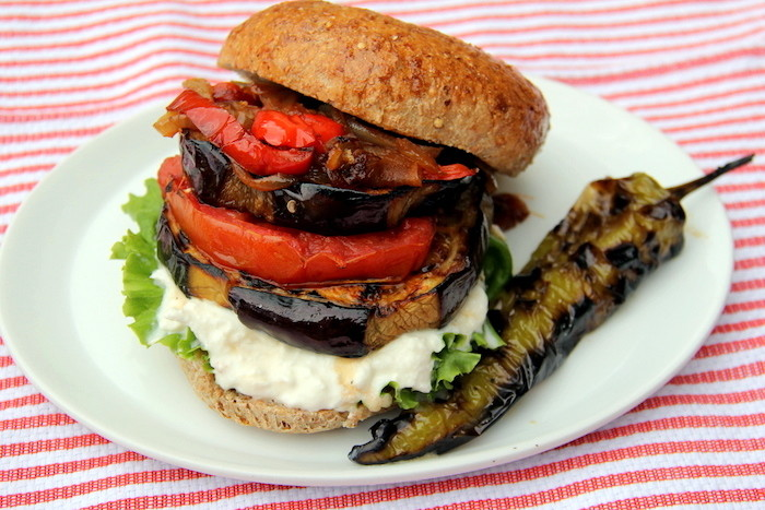 Grilled eggplant sliders