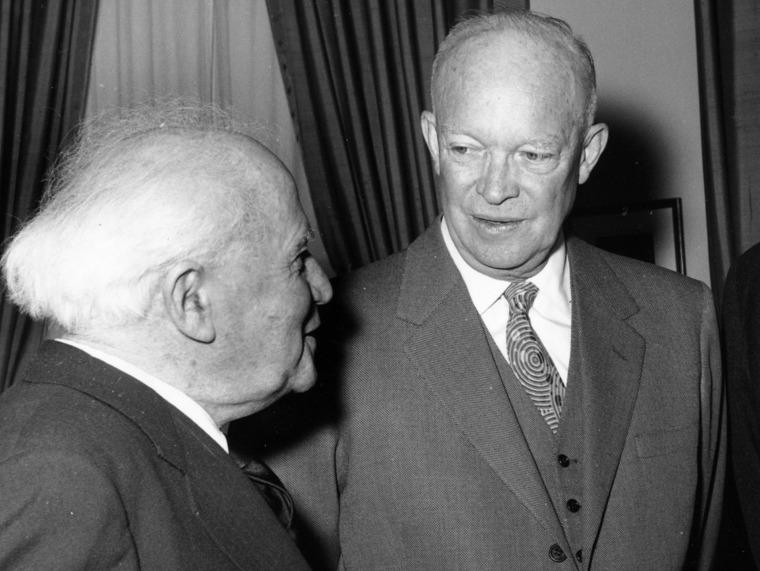 Israeli Prime Minister David Ben-Gurion with President Dwight Eisenhower at the White House on March 12, 1960.