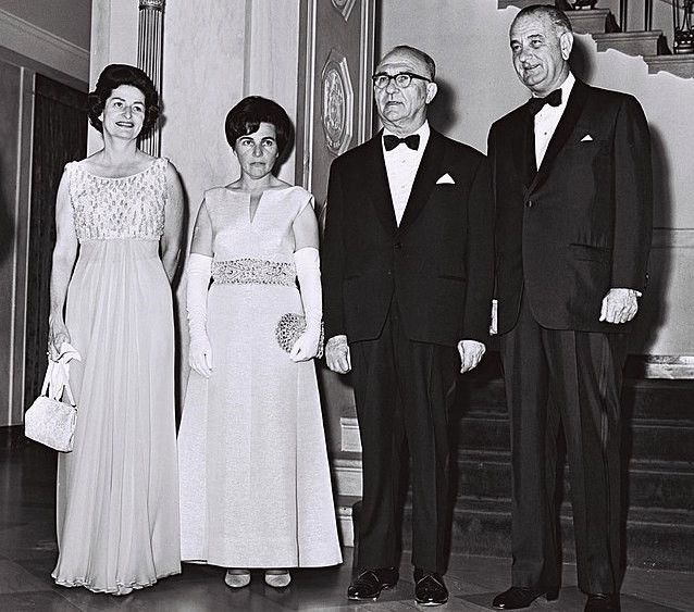 President Lyndon Johnson with Israeli Prime Minister Levi Eshkol and their wives, Lady Bird Johnson and Miriam Eshkol.