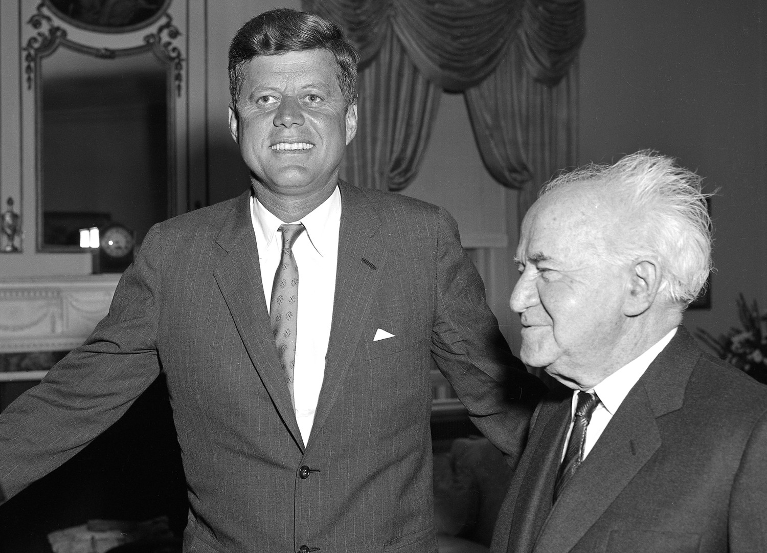 President John F. Kennedy and Israel Prime Minister David Ben-Gurion at the Waldorf Towers.