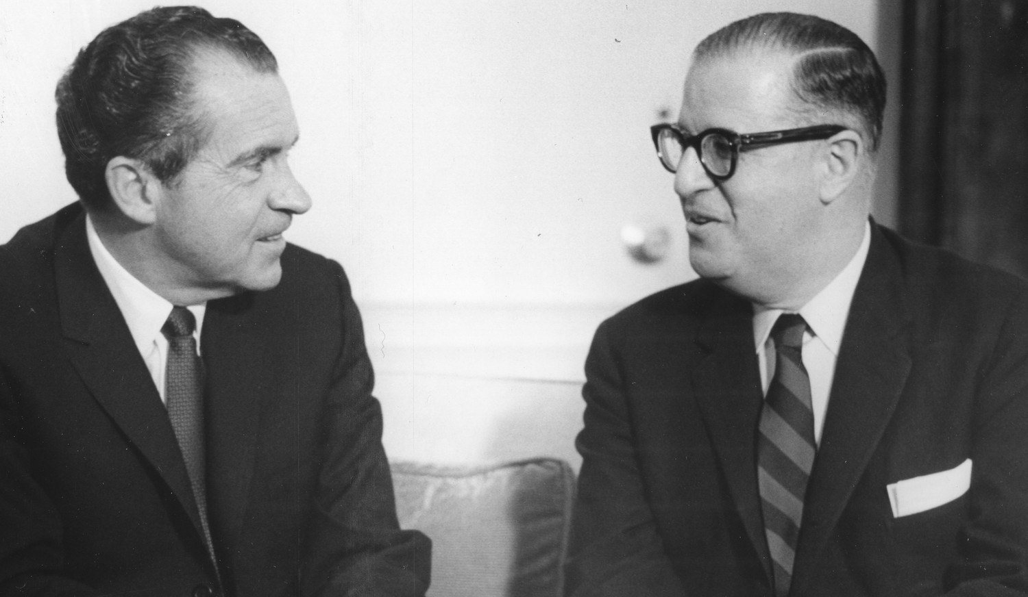 President Richard M Nixon with Foreign Ministrer Abba Eban of Israel, Washington DC, March 14, 1969. (Photo by PhotoQuest/Getty Images)