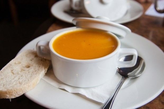 Butternut squash soup with orange and ginger.