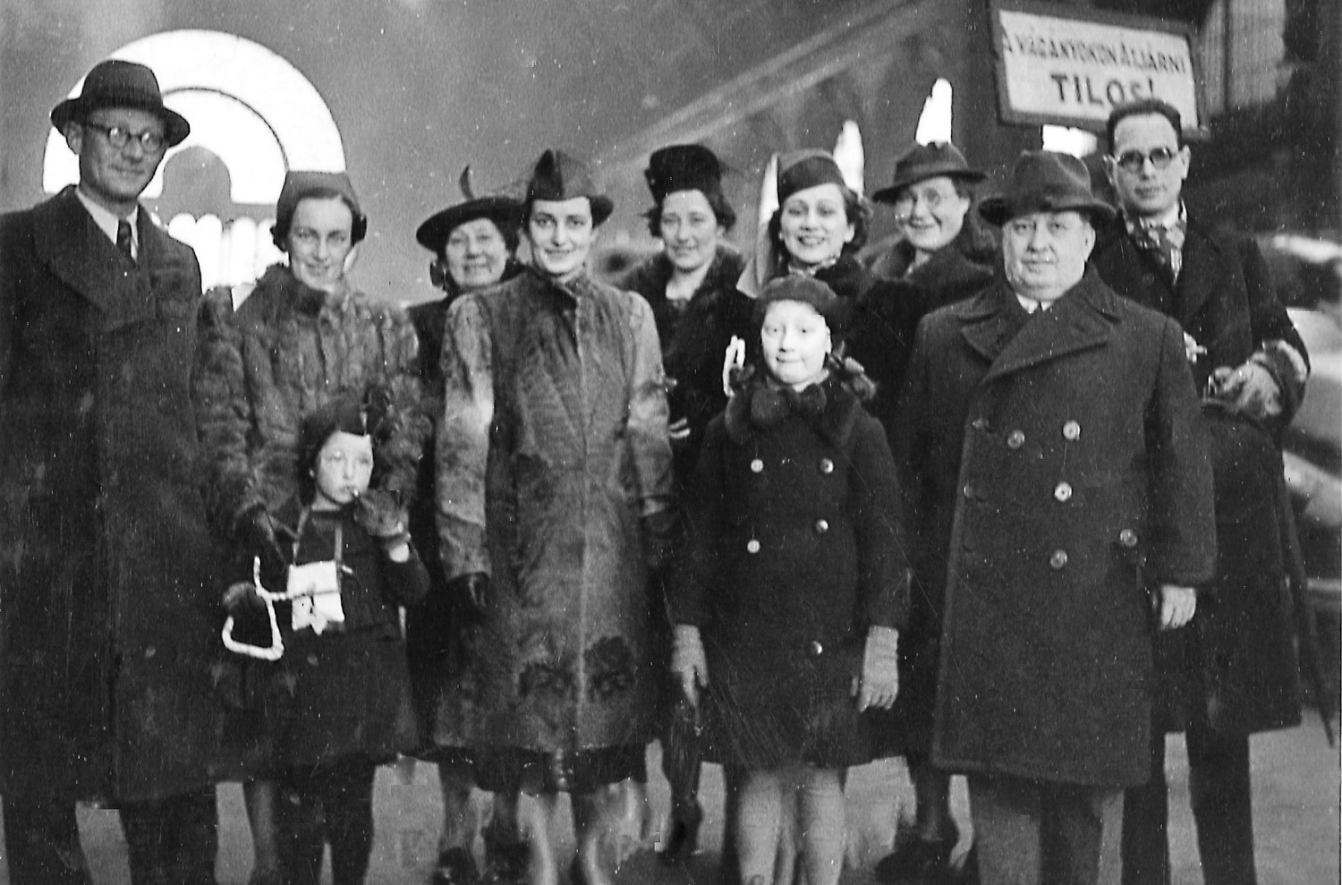 A Jewish family reunited in Budapest in 1943 following the arrival there of family members from Holland.