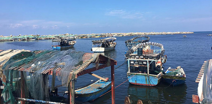 Fishermen ply their trade. Many Gazans complain about the blockade and fishing limits.