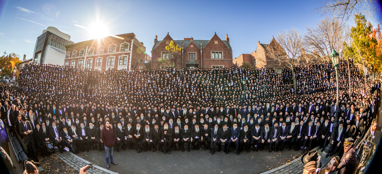 Thousands of Chabad-Lubavitch shluchim from around the world posed last week, as they do each year, for a classic photo in front of the movement's headquarters in Brooklyn's Crown Heights neighborhood. They are among 4,700 rabbis who were in New York for an annual gathering aimed at strengthening Jewish awareness and practice around the world.