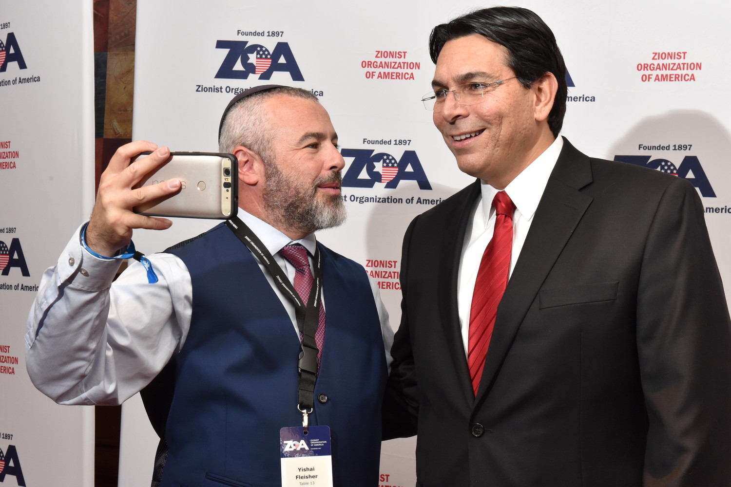 Yishai Fleisher, spokesperson for the Jewish community in Hebron, with Israel's UN ambassador, Danny Danon, at the Nov. 4 ZOA gala.