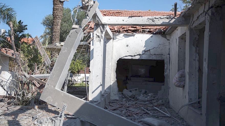 A house hit by a rocket fired from the Gaza Strip in the southern Israeli city of Ashkelon on Tuesday.