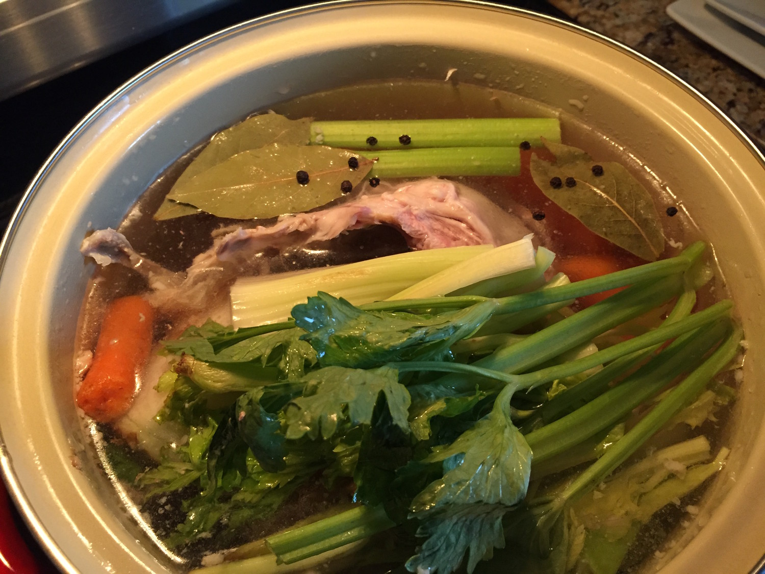 Perfect turkey broth for gravy