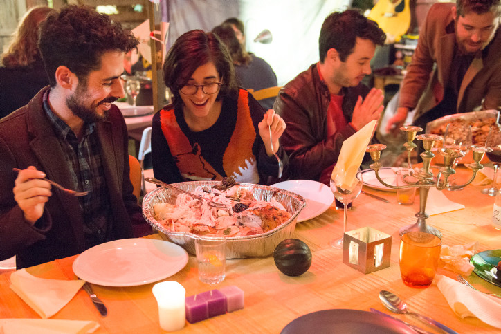 Israelis and Americans enjoy a Thanksgiving dinner in Tel Aviv in 2014.