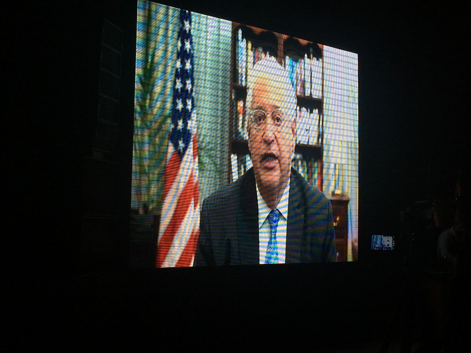 U.S. Ambassador to Israel David Friedman speaks on video to the Jewish Media Summit on Sunday night in Jerusalem.