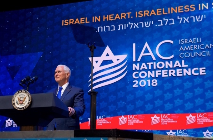 Vice President Mike Pence addresses the conference of the Israeli-American Council.
