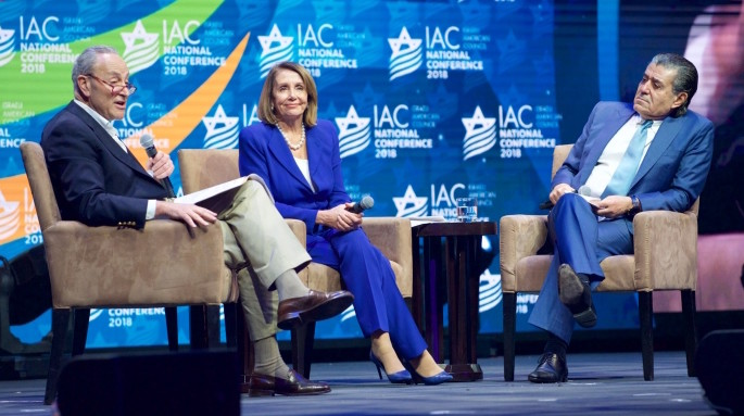 Sen. Charles Schumer and  Rep. Nancy Pelosi are interviewed by Israeli-American entertainment mogul Haim Saban at the IAC conference on Dec. 2.