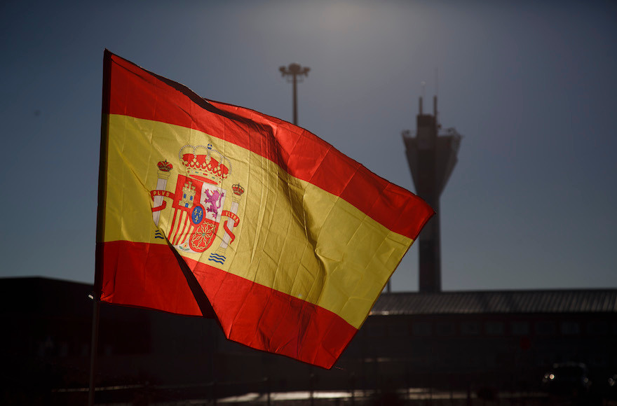 A Spanish flag shown near Estremera, in Madrid province on Dec. 19, 2018.