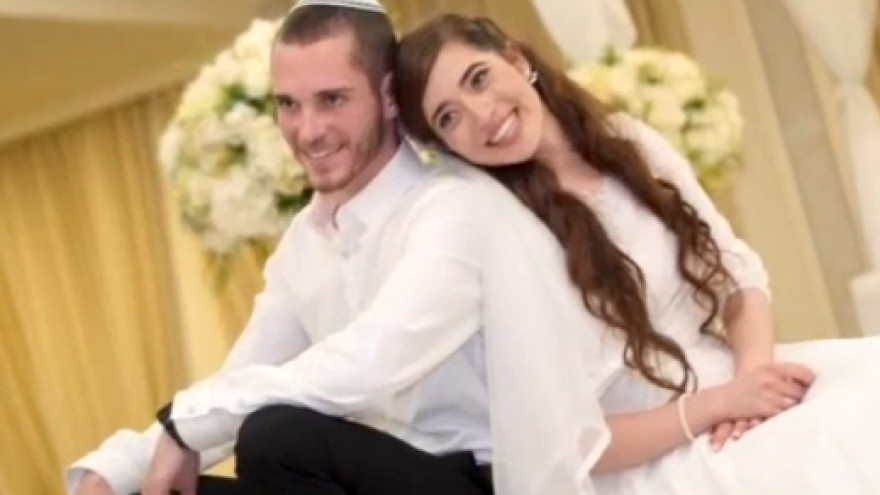 Wedding photo of Amichai and Shira Ish-Ran, married earlier this year. Both were injured in a drive-by shooting by a Palestinian terrorists at a bus stop outside of Ofra on Dec. 9.