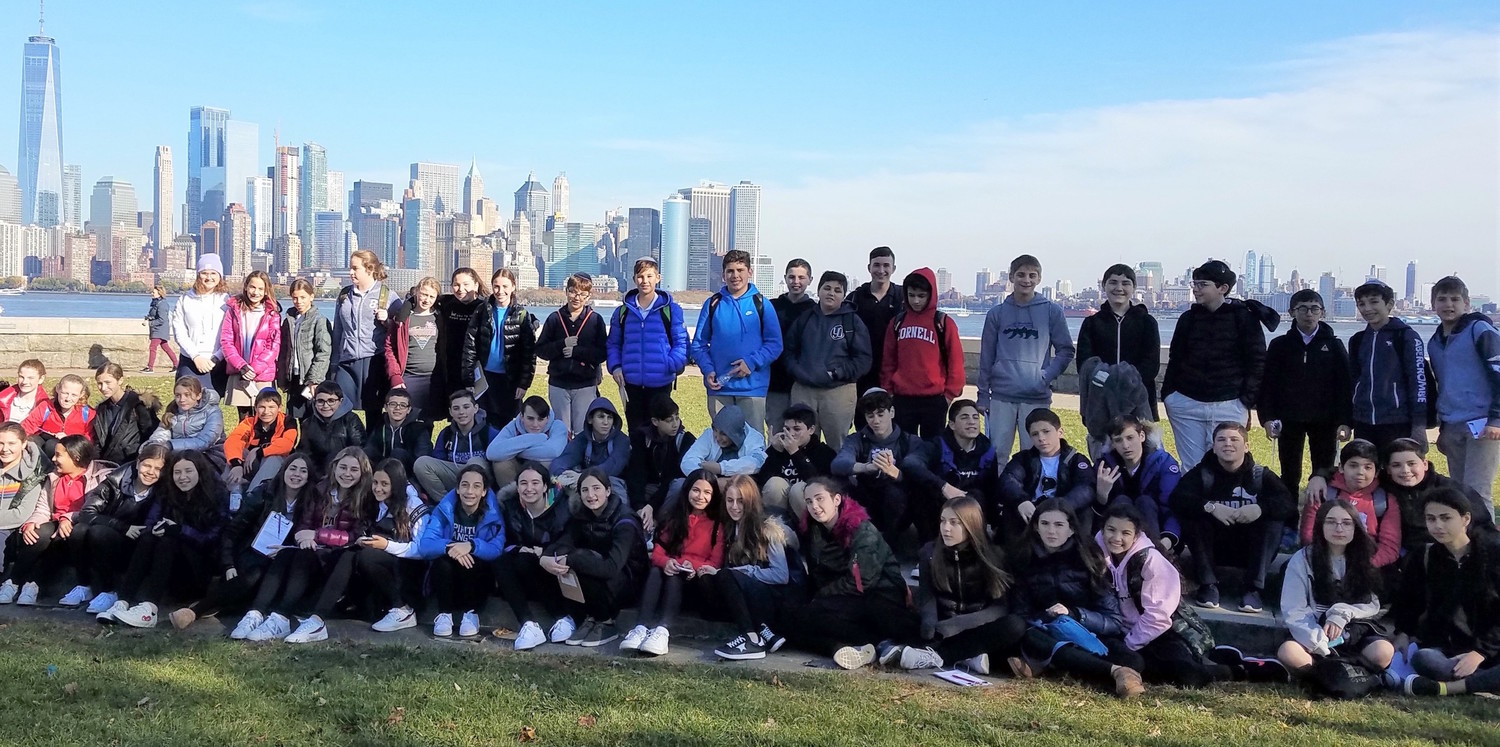 Eighth-graders at HAFTR enhanced their studies of immigration at the beginning of the twentieth century with a class trip to Ellis Island, accompanied by their American History teacher, Rebecca Zweibon.