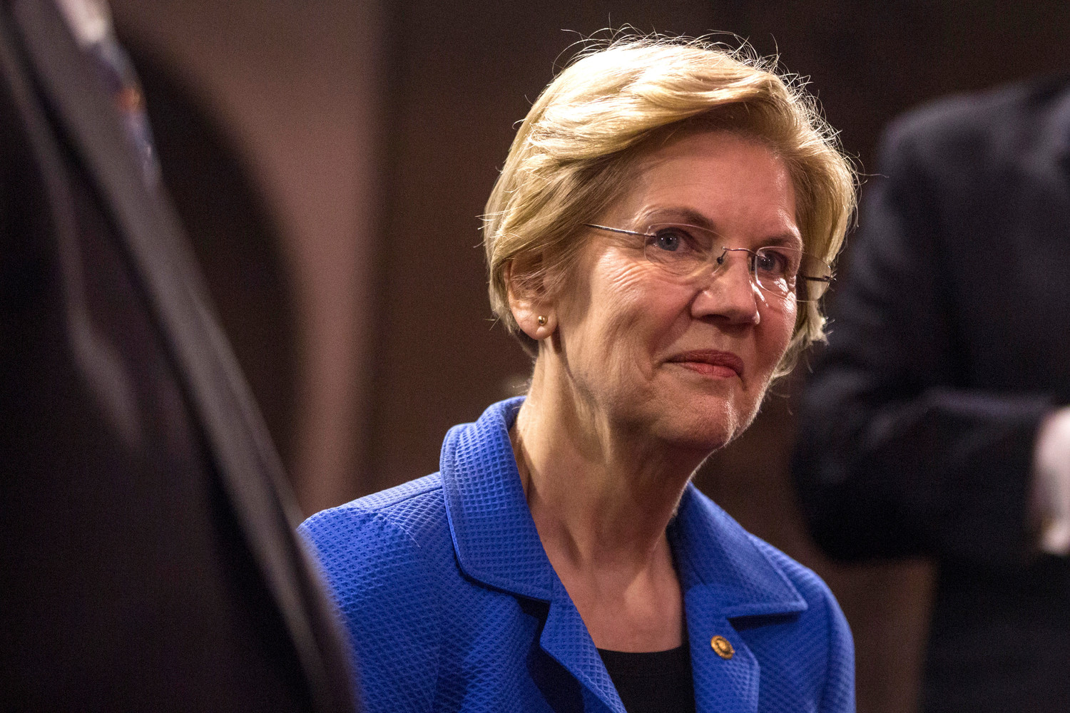 Sen. Elizabeth Warren (D-MA) is pictured during a mock swearing in ceremony with Vice President Mike Pence on Capitol Hill on Jan. 3, 2019.