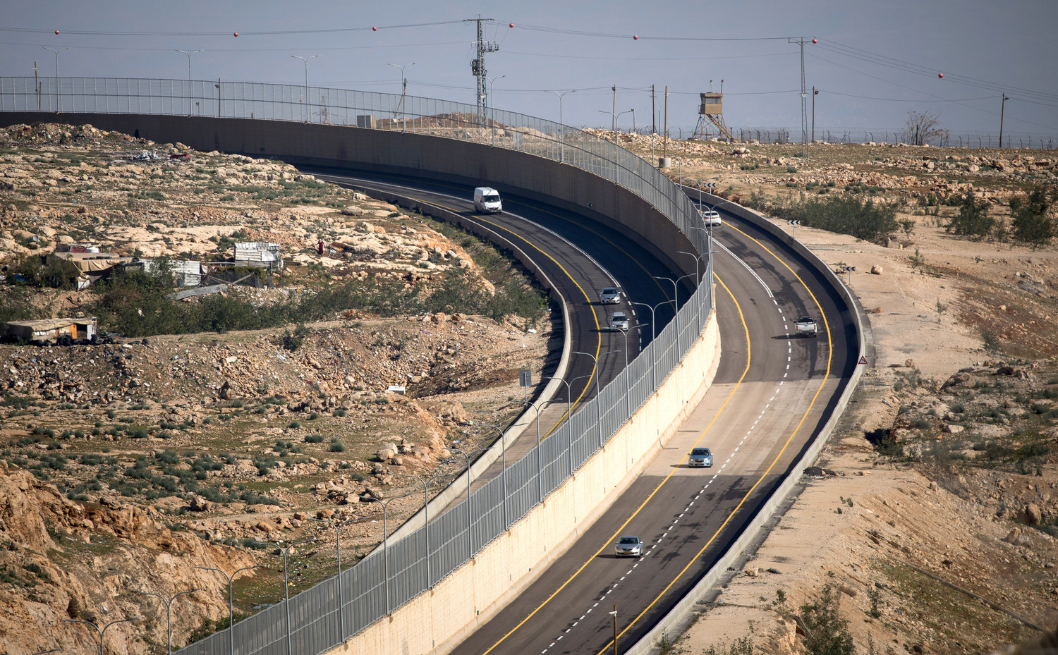 View of Route 4370, northeast of Jerusalem, which connects the Geva Binyamin area to Route 1, and separates vehicles of Israeli citizens and non-citizens, on Jan. 10.