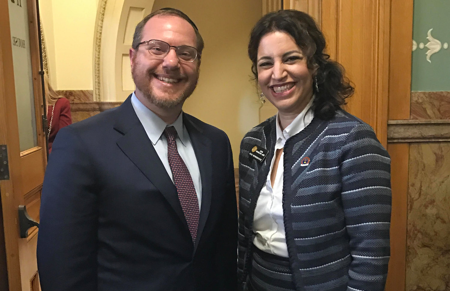 Rabbi Yehiel Kalish attends the swearing-in of his sister Dafna Michaelson Jenet at the Colorado House of Representatives in Denver, on Jan. 11, 2017.