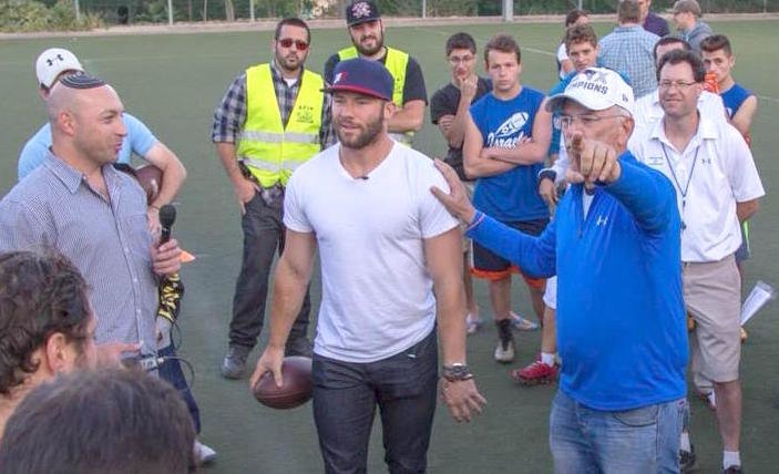 Super Bowl MVP Julian Edelman at the Kraft Family Sports Complex in Jersualem.