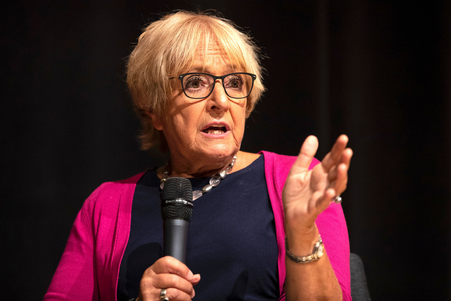 Margaret Hodge speaks during the Jewish Labour Movement Conference in London on Sept. 2, 2018.