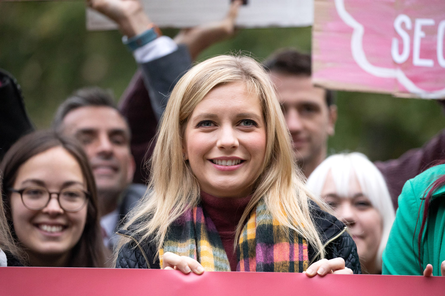 Rachel Riley with campaigners outside of the Houses of Parliament in London before delivering a petition to Downing Street on Oct. 8, 2018.