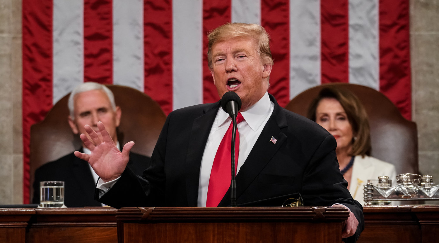 President Donald Trump delivers the State of the Union address at the Capitol on Feb. 5.