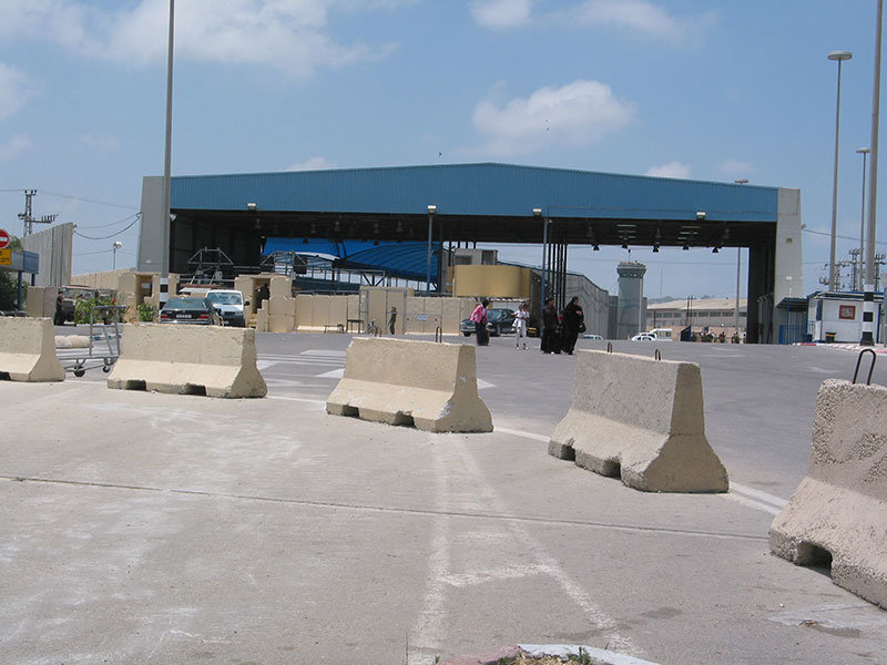 Erez border crossing from Israel to Gaza.