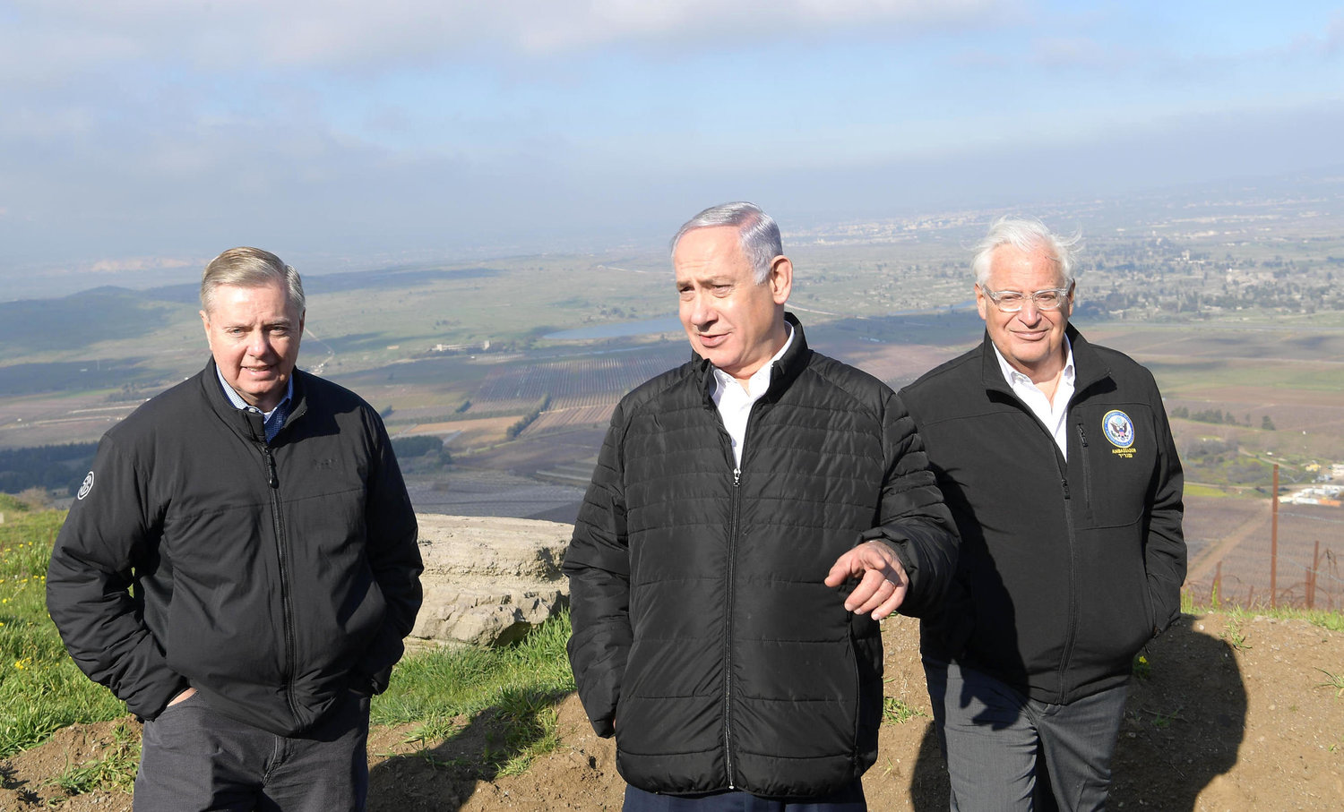 Senator Lindsey Graham joined Israeli Prime Minister Benjamin Netanyahu and U.S. Ambassador to Israel David Friedman on a visit to the Golan Heights on Monday.