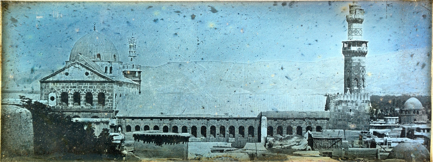 "Below: he Girault de Prangey exhibit contains other images from his travels through the Middle East, like this daguerrotype: ""Great Mosque of Damascus,"" from 1843."