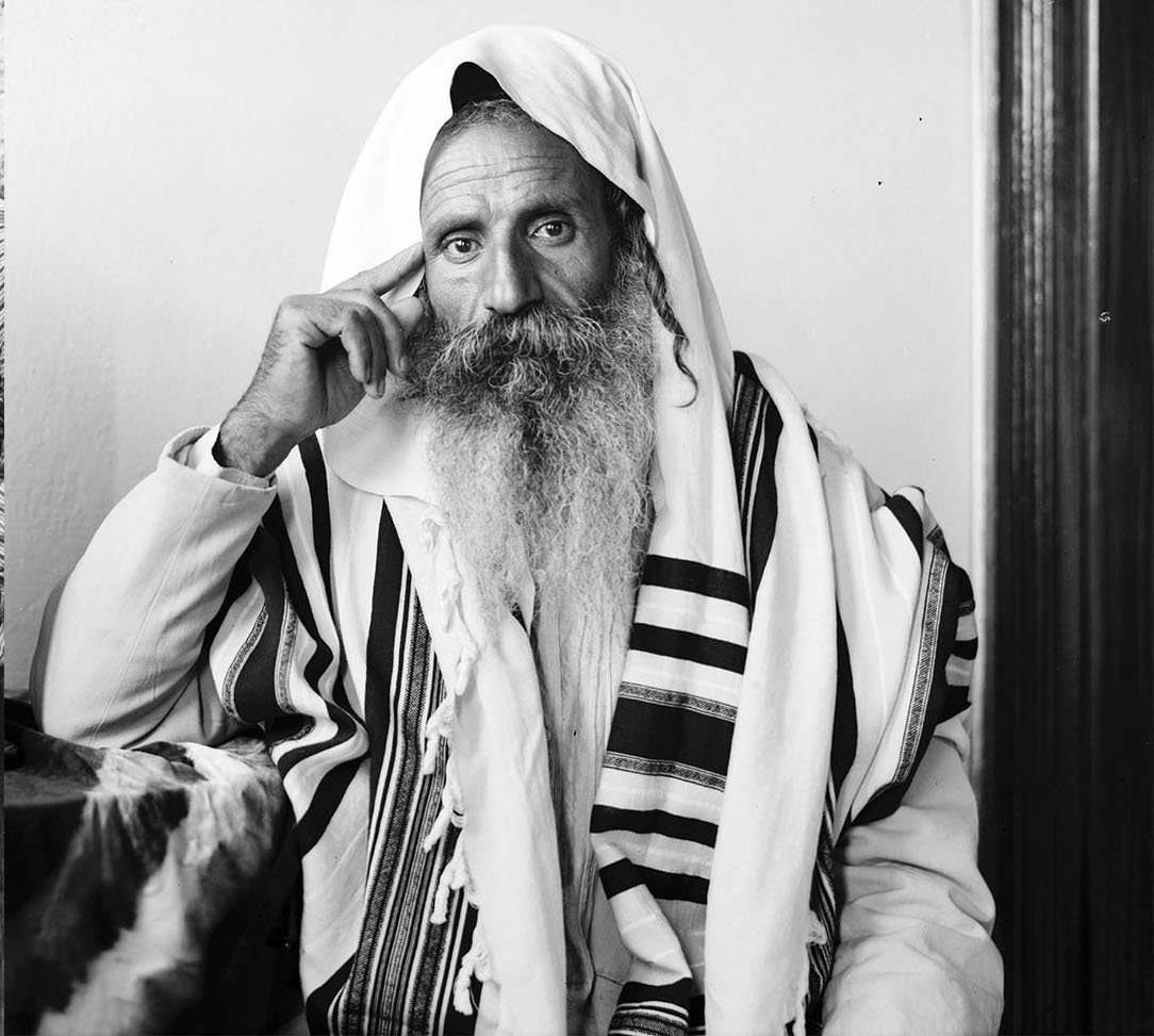 A Yemeni Jew listens to a radio in Jerusalem, 1935.