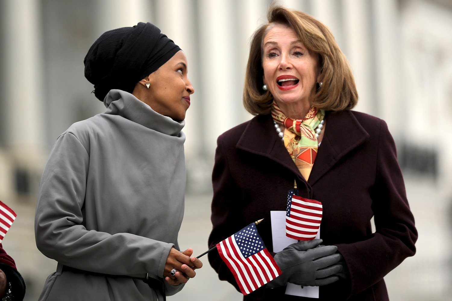 Rep. Ilhan Omar with House Speaker Nancy Pelosi during a rally with fellow Democrats at the Capitol on March 8.