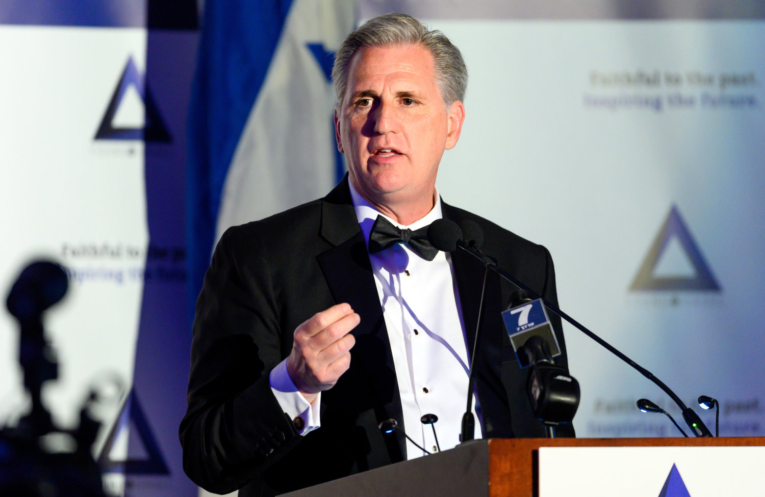 Rep. Kevin McCarthy, the House minority leader, speaks at the gala dinner of the National Council of Young Israel on March 31.