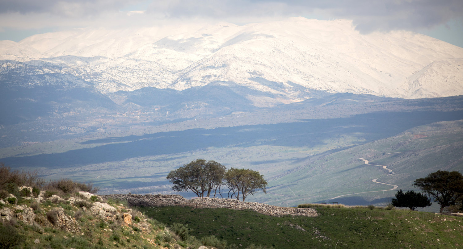 View of the snow covered Mount Hermon in the Golan Heights, northern Israel, on Jan. 18, 2019.