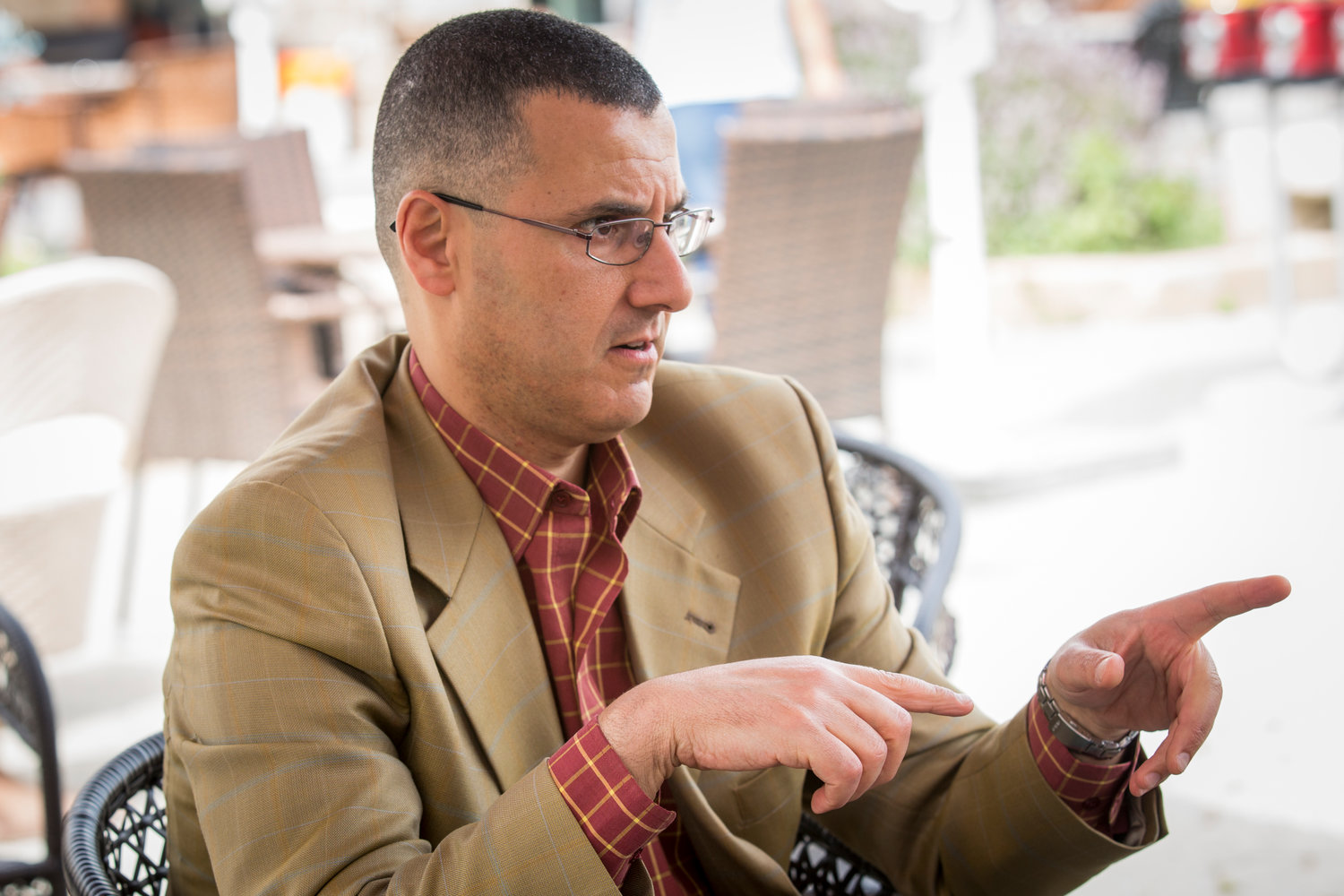 Omar Barghouti speaks about BDS on June 3, 2014 in Acre, Israel.