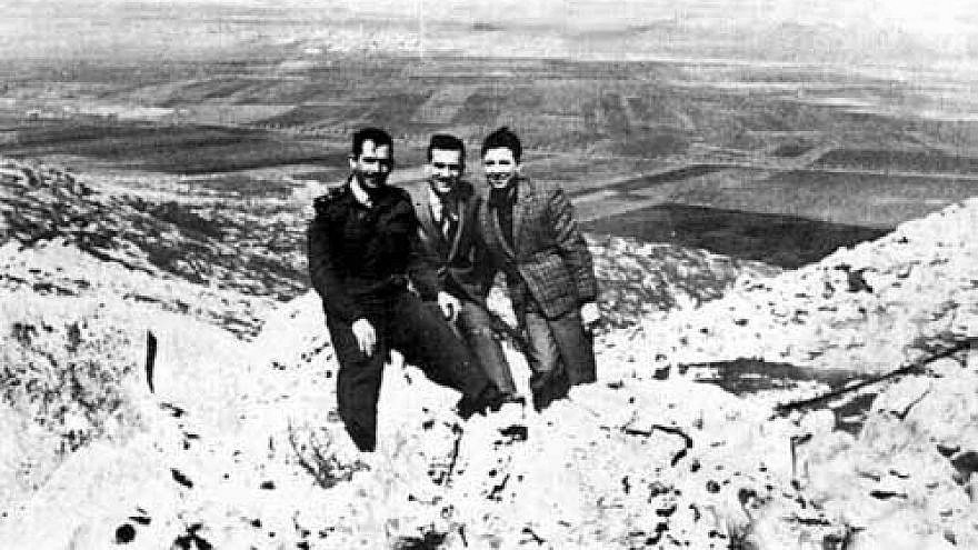 Eli Cohen (center) posing as Arab merchant Kamel Amin Thaabet, with his friends from the Syrian army on the Golan Heights overlooking Israel, mid-1960s.