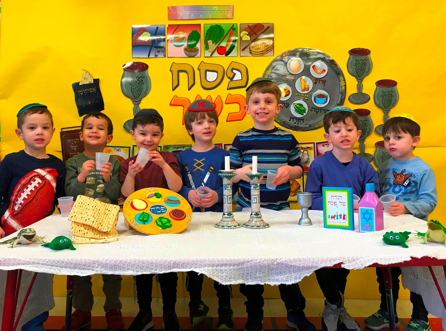 Youngsters in HAFTR's Early Childhood Center participated last week in a dress rehearsal for their family Pesach celebrations, previewing the Seder tables that will come to life this Friday and Saturday nights.