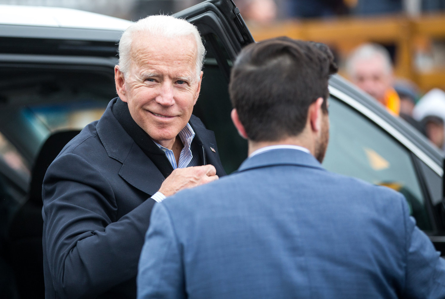 Former Vice President Joe Biden arrives in front of a Stop & Shop in support of striking union workers on April 18, in Dorchester, Massachusetts.