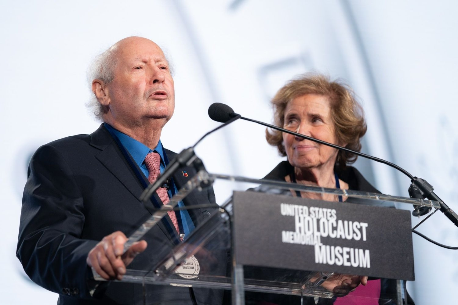 Beate and Serge Klarsfeld pose before receiving an award from the U.S. Holocaust Memorial Museum in Washington.